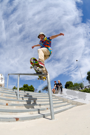 ALBUFEIRA, PORTUGAL - OCTOBER 5, 2014: Fabio Diniz during the 3rd Stage DC Skate Challenge by Fuel TV.
