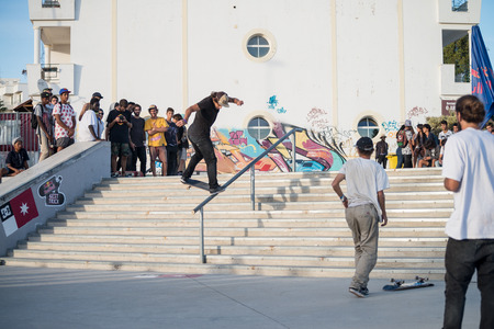 ALBUFEIRA, PORTUGAL - OCTOBER 5, 2014: Duarte Pombo during the 3rd Stage DC Skate Challenge by Fuel TV.