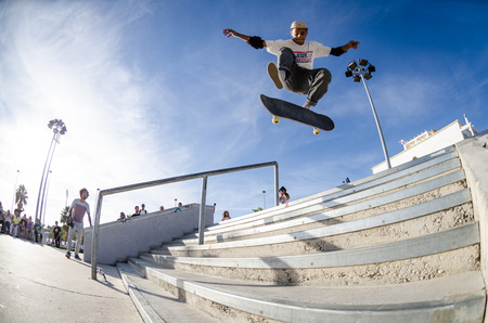 ALBUFEIRA, PORTUGAL - OCTOBER 5, 2014: Afonso Nery during the 3rd Stage DC Skate Challenge by Fuel TV.