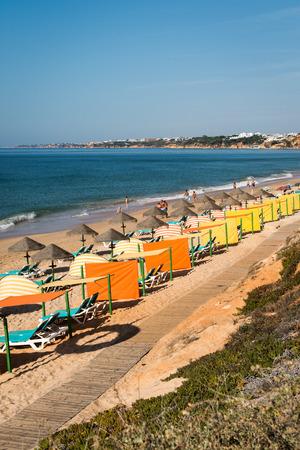 region of algarve: ALBUFEIRA, PORTUGAL - OCTOBER 4, 2014: Falesia beach in Albufeira. This beach is a part of famous tourist region Algarve. Editorial