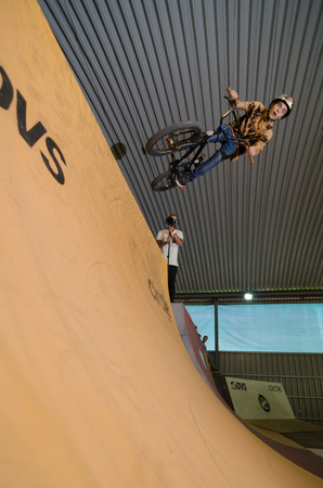 SANTAREM, PORTUGAL - OCTOBER 18, 2014: Leonardo Silvestre\ during the 3rd Stage of the DVS BMX Series 2014 by Fuel TV.\