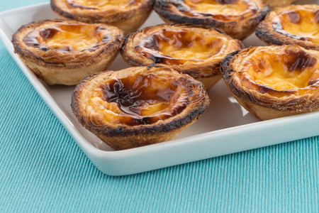 nata: Pastel de nata, typical pastry from Lisbon - Portugal. Stock Photo