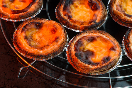 custard flavor: Pastel de nata, typical pastry from Lisbon - Portugal. Stock Photo