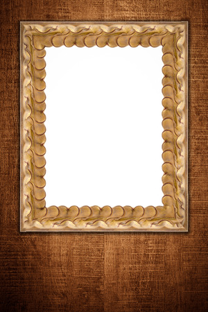 metal background: Old picture frame on vintage wood wall. Stock Photo