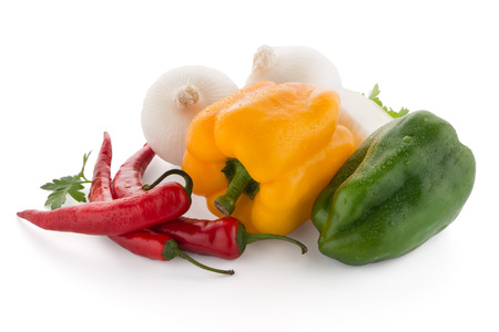 bell peppers: Mediterranean vegetables with red chilli peppers, parsley and bell peppers isolated on white background.