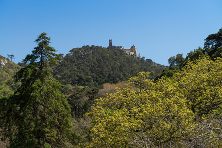 the pena national palace: The Pena National Palace is a Romanticist palace in Sao Pedro de Penaferrim, Sintra, Portugal Stock Photo