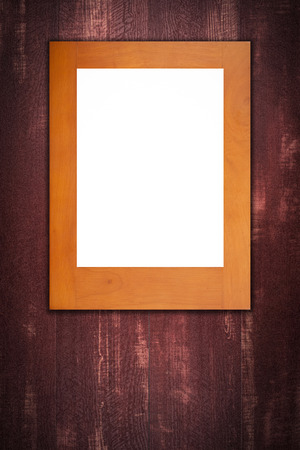 photography backdrop: Old picture frame on vintage wood wall. Stock Photo