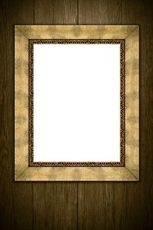 old picture frame: Old picture frame on vintage wood wall. Stock Photo