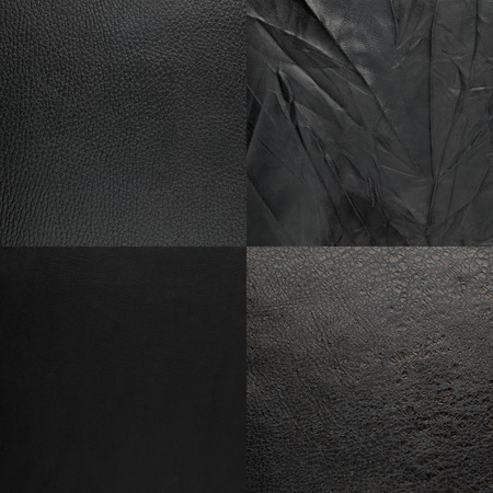black leather texture: Set of black leather samples, texture background.