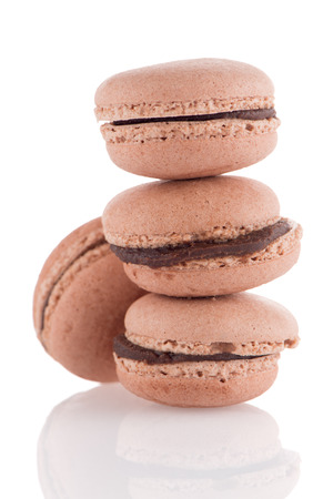 maroni: Colorful French Macarons on the white background.
