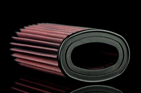 modificaci�n: Air filtro c�nico sobre fondo negro. Accesorios para veh�culos modificaci�n. Foto de archivo