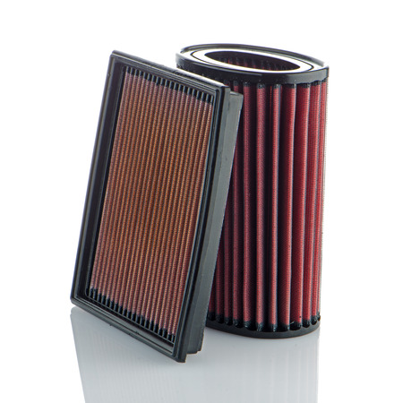 high torque: Air filters on white background. Vehicle Modification Accessories. Stock Photo