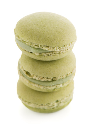 Colorful French Macarons on the white background.