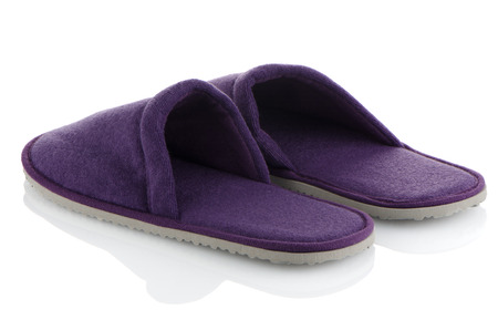 houseshoe: A pair of purple slippers on a white background.