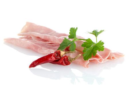 non vegetarian: fresh shaved ham on a white background