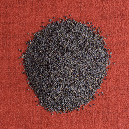 opiate: Top view of poppy seeds against red vinyl background. Stock Photo
