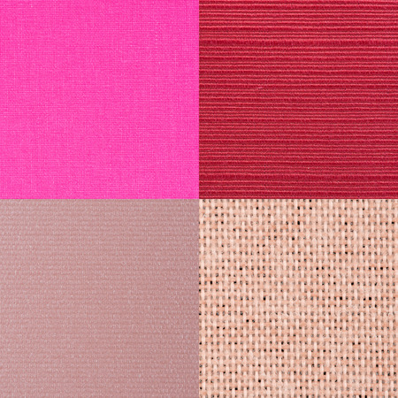 lint: Set of pink fabric samples, texture background. Stock Photo