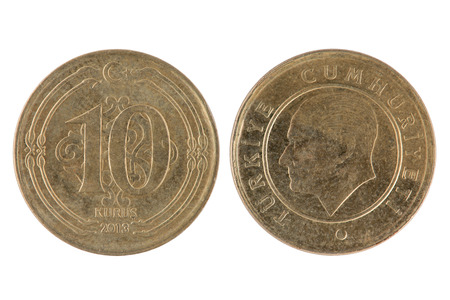 meta: Front and Back view of a Turkish 10 Kurus Coin on a white background