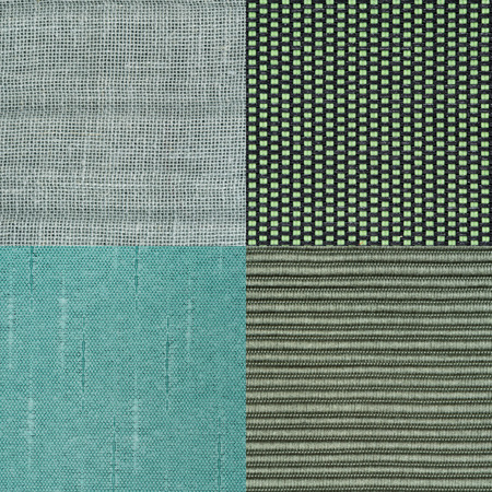 fibra: Set of green fabric samples, texture background. Stock Photo