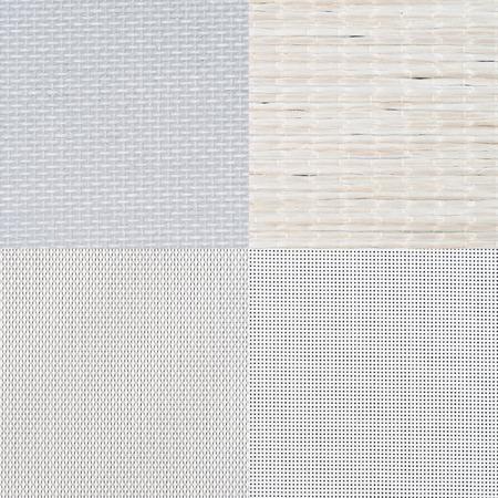 tela blanca: Conjunto de muestras de vinilo blanco, la textura de fondo. Foto de archivo