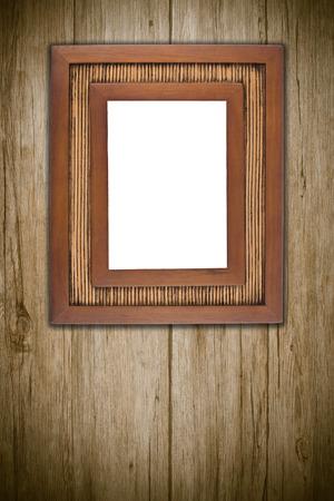 marco madera: Foto o pintura marco en el fondo de madera.