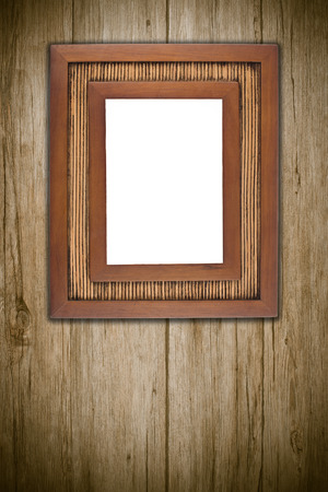 frame wood: Photo or painting frame on wooden background.