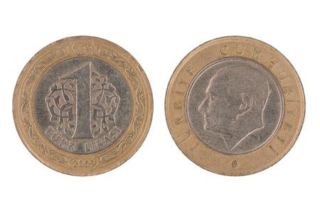 turkish lira: One Turkish lira coin isolated on white background.
