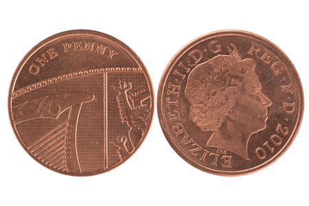 One penny coin over a white background photo