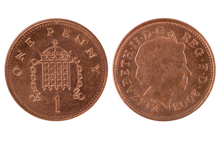 thrifty: One penny coin over a white background Stock Photo