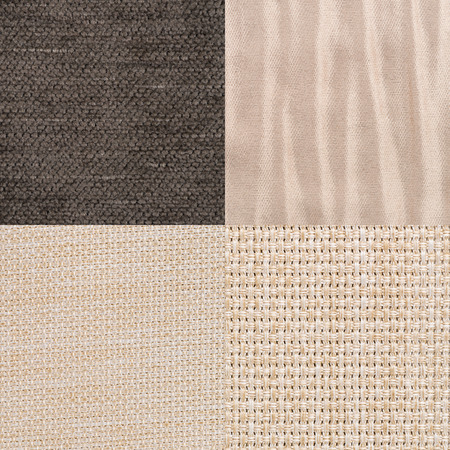 fabric cotton: Set of brown fabric samples, texture background.