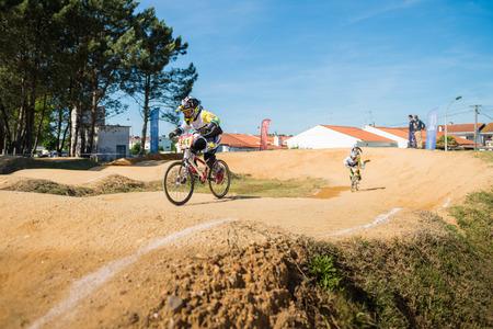 off ramp: ESTARREJA, PORTUGAL - MAY 16, 2015: Ivan Pedrosa leading the race during the Taca de Portugal Bmx.