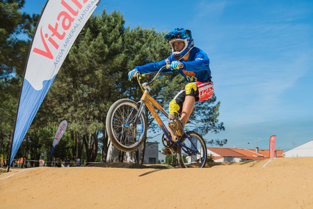 off ramp: ESTARREJA, PORTUGAL - MAY 16, 2015: Unidentified CBP rider during the Taca de Portugal Bmx. Editorial