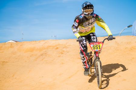 off ramp: ESTARREJA, PORTUGAL - MAY 16, 2015: Carolina Martins during the Taca de Portugal Bmx. Editorial