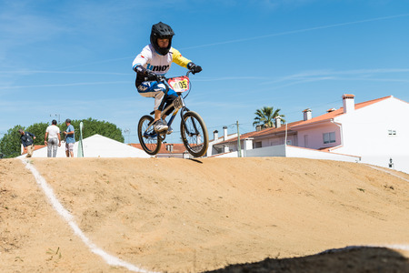 off ramp: ESTARREJA, PORTUGAL - MAY 16, 2015: Gonzalo Villard during the Taca de Portugal Bmx. Editorial