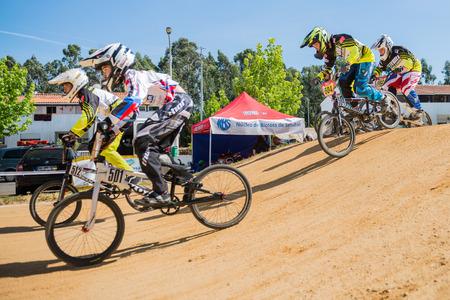 off ramp: ESTARREJA, PORTUGAL - MAY 16, 2015: Juvelines race during the Taca de Portugal Bmx.
