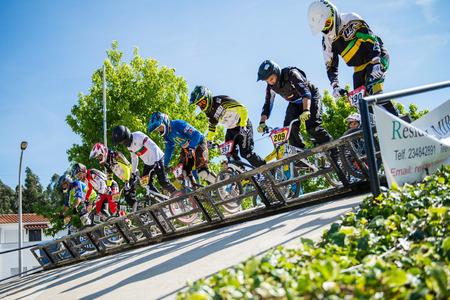 off ramp: ESTARREJA, PORTUGAL - MAY 16, 2015: Racing start during trainings on the Taca de Portugal Bmx.