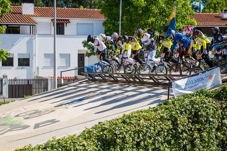 off ramp: ESTARREJA, PORTUGAL - MAY 16, 2015: Riders during the Taca de Portugal Bmx. Editorial
