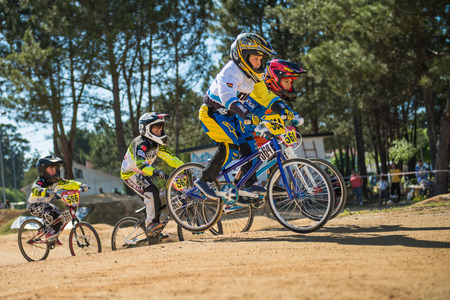 off ramp: ESTARREJA, PORTUGAL - MAY 16, 2015: Jesus Miranda leading the race during the Taca de Portugal Bmx.