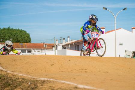 off ramp: ESTARREJA, PORTUGAL - MAY 16, 2015: Leonor Alegria leading the race during the Taca de Portugal Bmx. Editorial
