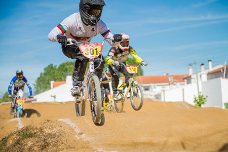 off ramp: ESTARREJA, PORTUGAL - MAY 16, 2015: Bruno Berto leading the race during the Taca de Portugal Bmx.