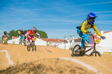 off ramp: ESTARREJA, PORTUGAL - MAY 16, 2015: Fabio Ferreira leading the race during the Taca de Portugal Bmx. Editorial