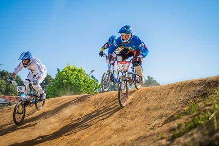 off ramp: ESTARREJA, PORTUGAL - MAY 16, 2015: Riders training during the Taca de Portugal Bmx.