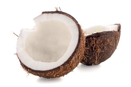 noix de coco: Coconut isol� sur blanc. Banque d'images
