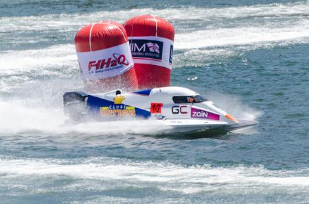bolide: PORTO, PORTUGAL - AUGUST 1, 2015: Duarte Benavente (POR) during the U.I.M. F1H2O World Championship in Porto, Portugal.