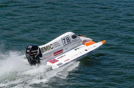 bolide: PORTO, PORTUGAL - AUGUST 1, 2015: Joakim Halvorsen (NOR) during the U.I.M. F1H2O World Championship in Porto, Portugal.