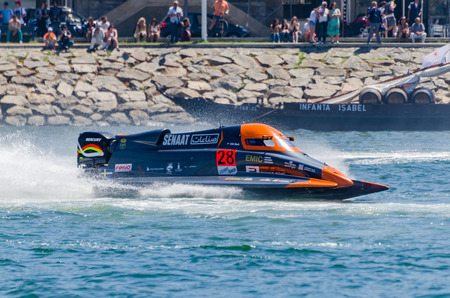 stark: PORTO, PORTUGAL - AUGUST 1, 2015: Erik Stark (SWE) during the U.I.M. F1H2O World Championship in Porto, Portugal. Editorial