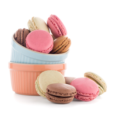 Colorful French Macaroons on the white background. Stock Photo