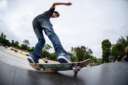 ILHAVO, PORTUGAL - AUGUST 22, 2015: Antonio Fausto during the Ilhavos Skateboarding Championship and the new skatepark opening.