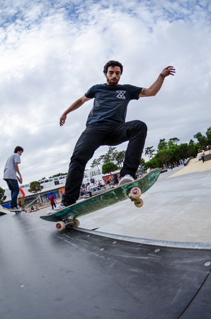 skateboard shoes: ILHAVO, PORTUGAL - AUGUST 22, 2015: Pedro Mano during the Ilhavos Skateboarding Championship and the new skatepark opening. Editorial