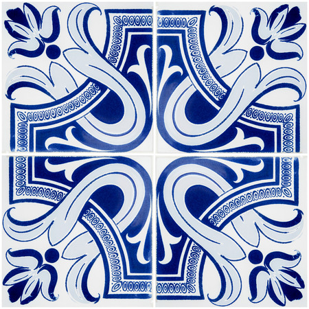 tile wall: Closeup detail of old Portuguese glazed tiles. Stock Photo